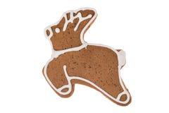 Renna del pan di zenzero di Natale isolata su un fondo bianco Immagini Stock Libere da Diritti
