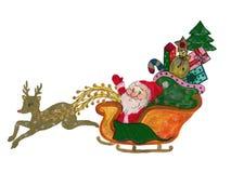 Renna dell'illustrazione di Santa Claus dell'acquerello su fondo bianco illustrazione di stock