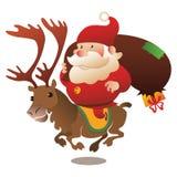 Renna di guida di Santa con i presente Immagine Stock Libera da Diritti