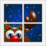 Renna di Natale che guarda dalla finestra Fotografia Stock