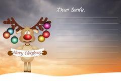 Renna divertente per il Natale Fotografie Stock