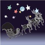 Renna e luna piena con il Natale fondo ed il vettore della cartolina d'auguri Royalty Illustrazione gratis
