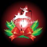 Renna e nastro rosso con il Natale fondo ed il vettore della cartolina d'auguri Illustrazione di Stock