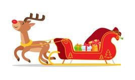Renna e Natale Sleigh con il vettore dei presente illustrazione di stock
