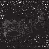 Renna e Santa Claus con il Natale fondo ed il vettore della cartolina d'auguri Illustrazione di Stock