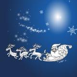 Renna e Santa Claus con il Natale fondo ed il vettore della cartolina d'auguri Illustrazione Vettoriale