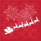 Renna e Santa Claus con il Natale fondo ed il vettore della cartolina d'auguri Royalty Illustrazione gratis
