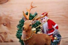 Renna ed il Babbo Natale Immagine Stock Libera da Diritti