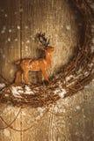 Renna Garland With Falling Snow Fotografia Stock Libera da Diritti