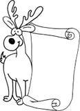 Renna - lettera del messaggio per il Babbo Natale Fotografia Stock Libera da Diritti