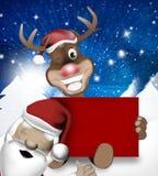 Renna Santa Claus delle zampe Fotografie Stock Libere da Diritti