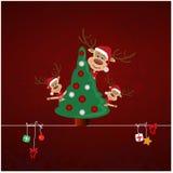 Renna tre sulla cartolina di Natale Immagine Stock Libera da Diritti