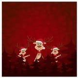 Renna tre sulla cartolina di Natale Fotografia Stock Libera da Diritti