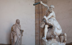 Rennaissnce statue of Hercules killing the Nesso Centaur Royalty Free Stock Image