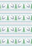 Renne avec des arbres et des flocons de neige de Noël sur un fond blanc Photos stock