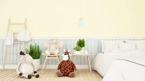 Renne avec la poupée de girafe et d'ours dans la chambre d'enfant ou le rendu de bedroom-3D illustration stock
