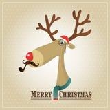 Renne d'illustration de vecteur, carte de Joyeux Noël Image libre de droits