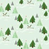 Renne dans l'arbre de sapin Forest Seamless Pattern Images stock