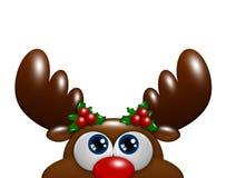 Renne de bande dessinée de Noël avec le houx recherchant au-dessus du blanc Image libre de droits