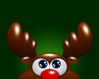 Renne de bande dessinée de Noël recherchant au-dessus du fond vert Images stock
