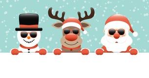 Renne de bonhomme de neige de bannière et turquoise de Santa Sunglasses Holding Label Snow illustration libre de droits