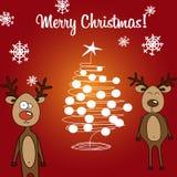Renne de carte et arbre de Noël Photographie stock libre de droits
