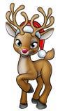 Renne de Noël de bande dessinée portant Santa Hat illustration de vecteur