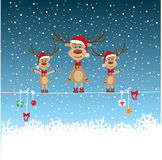 Renne de Noël dans la tempête de neige Photographie stock libre de droits