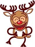 Renne de Noël riant avec enthousiasme Photos libres de droits