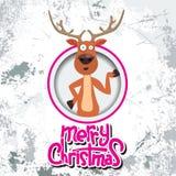 Renne de Noël se dirigeant à quelque chose en cercle Calligraphie de Joyeux Noël Vieux papier et effet de grunge avec Images stock