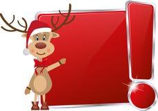 Renne de Noël sur le cadre rouge Photographie stock