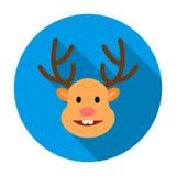 Renne de Noël avec l'icône rouge de nez dans le style plat d'isolement sur le fond blanc Vecteur d'actions de symbole de jour de  Image stock