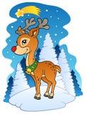 Renne de Noël avec la comète Images libres de droits