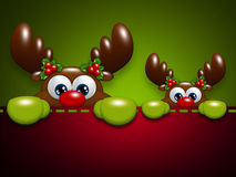 Renne del fumetto di Natale nella tasca Immagine Stock