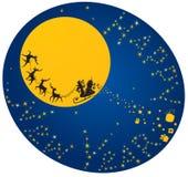 Renne ed il Babbo Natale di volo Immagine Stock Libera da Diritti