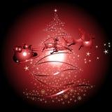 Renne et Santa Claus avec le fond de Noël et le vecteur de carte de voeux Images libres de droits