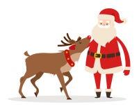 Renne et Santa Strokings sa tête d'animal familier d'isolement Photos libres de droits