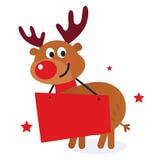 Renne mignon avec le drapeau de Noël Photo stock