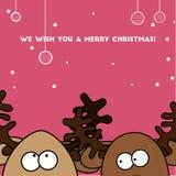 Renne très coloré de la carte de Noël deux Photos stock