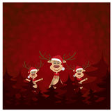 Renne trois sur la carte de Noël Photo libre de droits