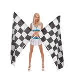 rennen Nette blonde Aufstellung mit zwei Zielflaggen Lizenzfreie Stockfotografie