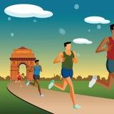 Rennen in Neu-Delhi, Indien Gatterhintergrund Stockfoto