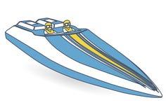 Rennen trägt Boot zur Schau Umrissenes blaues gelbes Motorboot, deluxes Schnellboot lizenzfreie abbildung