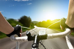 Rennende fiets Stock Foto's