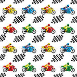 Rennende motorfietsen en geruite vlaggen Stock Afbeelding