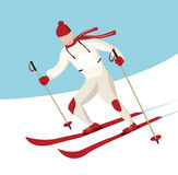 Rennende skiër Stock Afbeelding