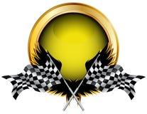 Rennende vlaggen en gouden knoop Royalty-vrije Stock Afbeeldingen
