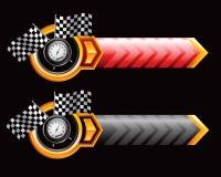 Rennende vlaggen en snelheidsmeter op pijlen Stock Afbeeldingen