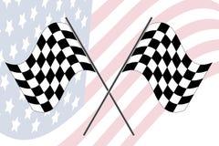 Rennenmarkierungsfahne mit uns Markierungsfahne Lizenzfreies Stockfoto