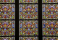 Rennes. (Ille-et-Vilaine, Brittany, France) - Ancient Sainte-Anne church, interior: stained glass Stock Photos